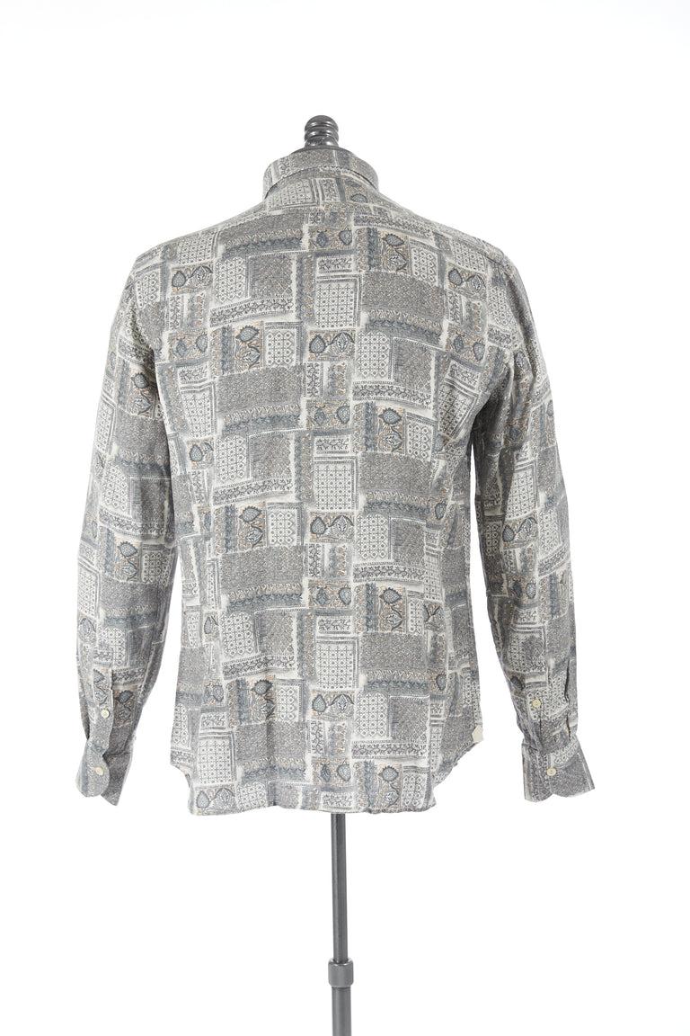 Tintoria Mattei Grey Blocked Pattern Print Flannel Shirt
