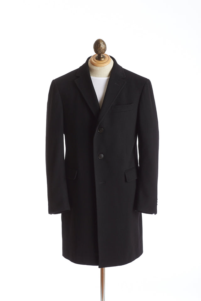 Z Zegna Black Wool Topcoat