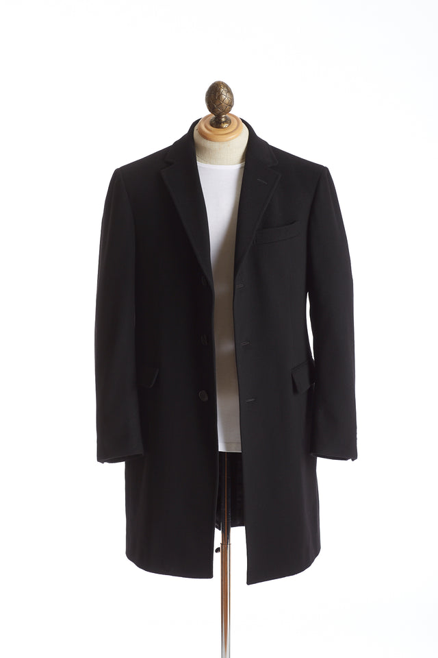 Z Zegna Black Wool Topcoat Open