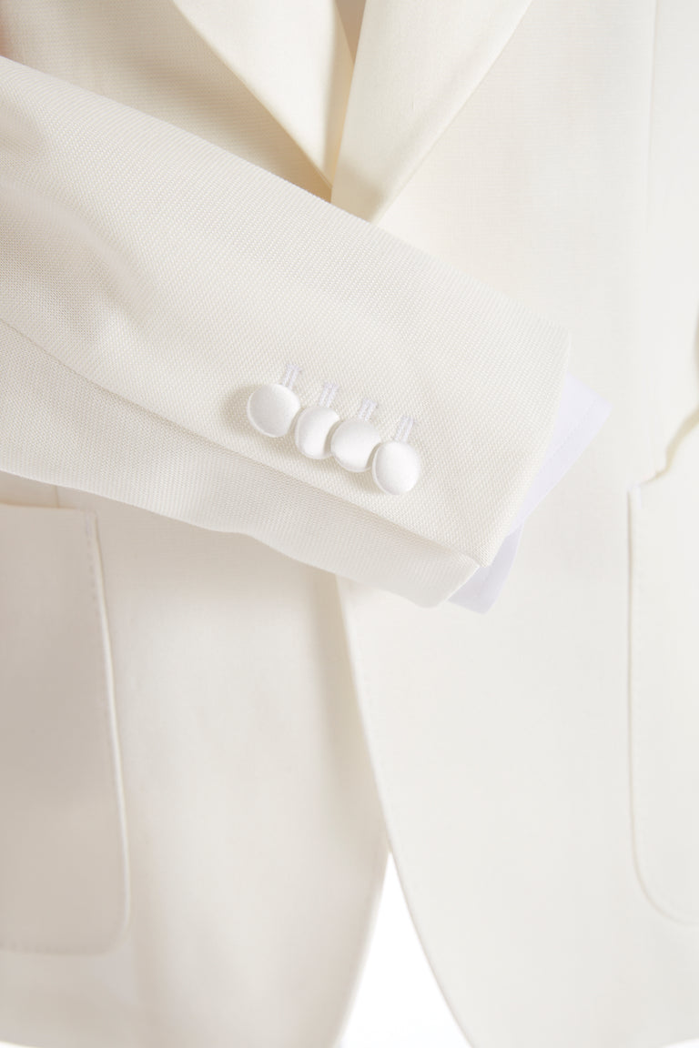 Z Zegna Cream Stretch Tuxedo Jacket Buttons