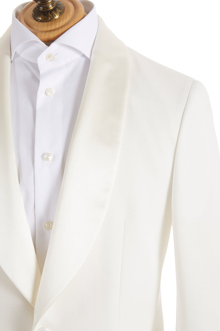 Z Zegna Cream Stretch Tuxedo Jacket Satin Lapel