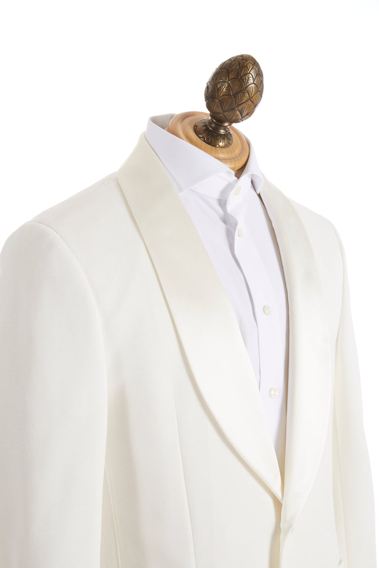 Z Zegna Cream Stretch Tuxedo Jacket Side