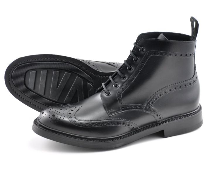 Loake Bedale Black Brogue Boot - Shoes - Loake - LALONDE's