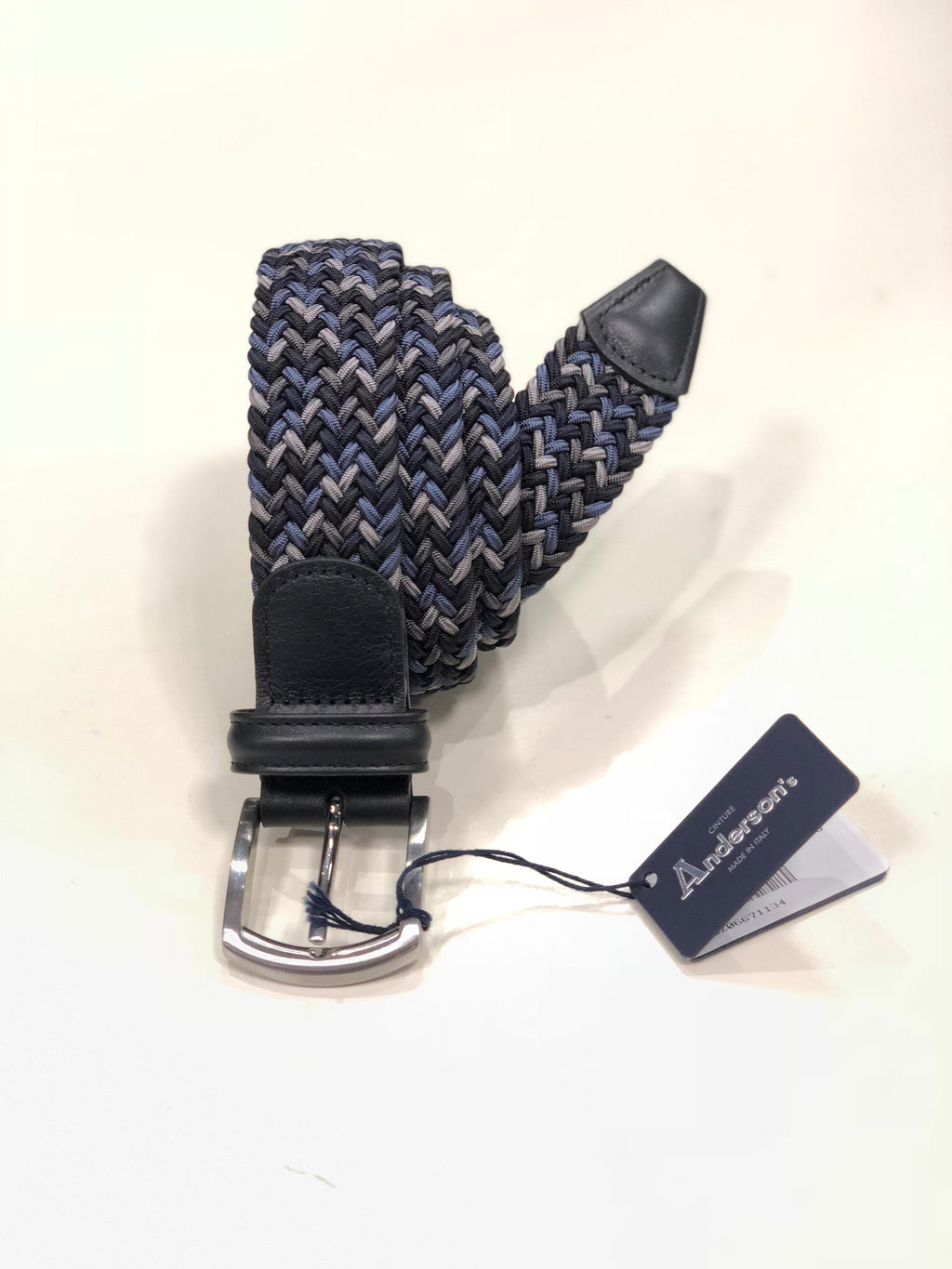 Anderson's Navy Multicoloured Stretch Belt -  - LALONDE's - LALONDE's