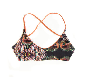 Boho Black Feather Kai Cross Back Bikini Top