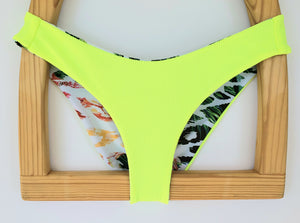 Neon Lemon (Yellow) + Jungle Cheetah  Aphrodite Cheeky REVERSIBLE  Bikini Bottoms