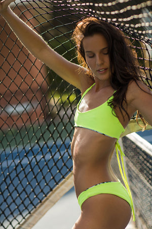 Neon Lemon (Yellow)  Ribbed +  Jungle Cheetah Reversible Kai Cross Back Bikini Top