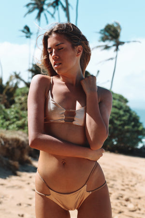 rose gold cheeky brazilian bikini