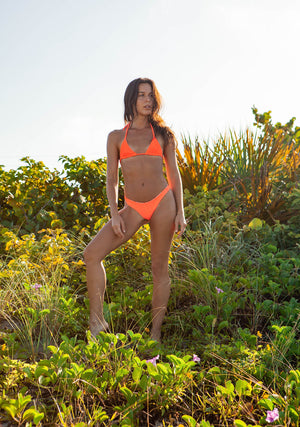 Neon Orange Ribbed + Jungle Cheetah REVERSIBLE Eclipse Triangle Bikini Top