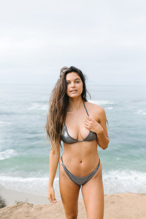 metallic gray triangle bikini top
