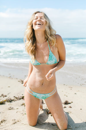 Tidal Mandala + Mint Eclipse REVERSIBLE Triangle Bikini Top