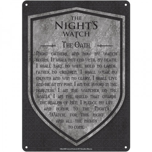 Tin Sign Small - Game Of Thrones (Nights Watch)