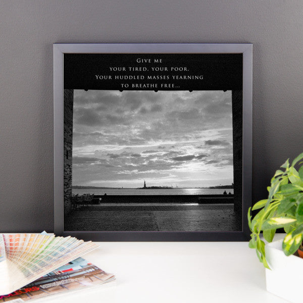 View of Liberty with Text Framed Photograph