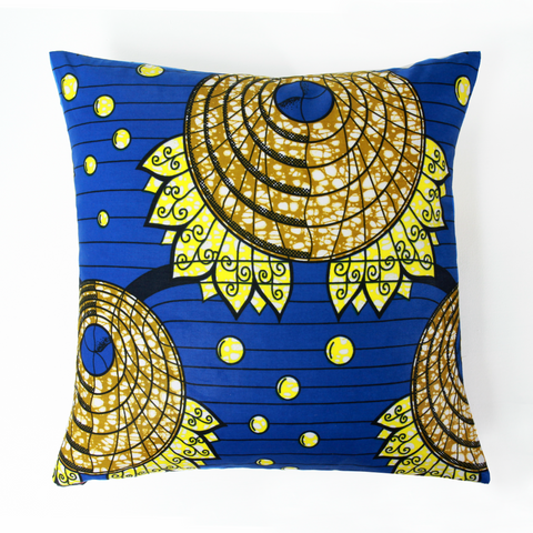 "AFRICAN PRINTS PILLOW 18x18""-Bleu"