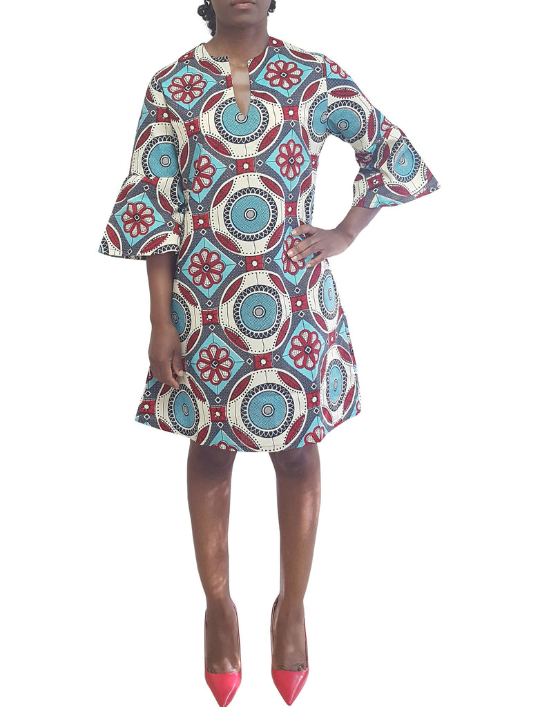 African Print Dress with bell sleeves blue color