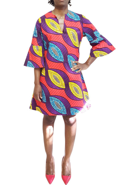 African Print Dress with bell sleeves red color