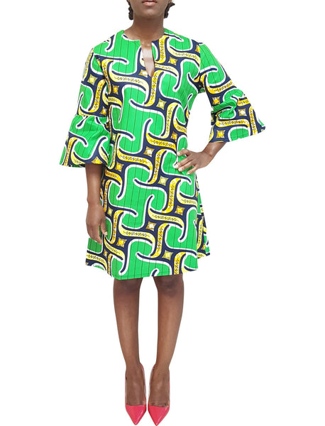 African Print Dress with bell sleeves in lime green prints