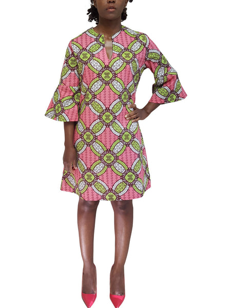 African Print Dress with bell sleeves beautiful pastel color
