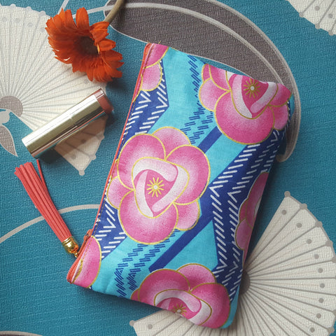 AFRICAN PRINTS POUCH-Pink Flower