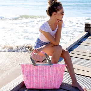 PlayaPlaya Beach Bag - L'Imprimé Bambou Rose Fluo