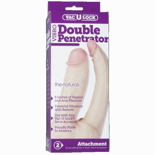 Vac-U-Lock Double Penetrator Vibro Natural White