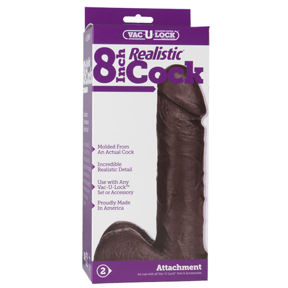 Doc Johnson Vac-U-Lock 8 Inch Realistic Cock Black