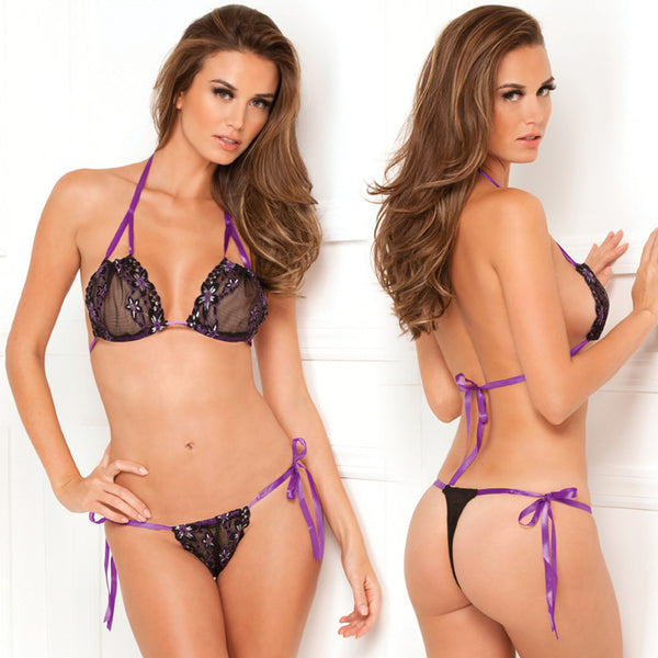Rene Rofe 2pc Lace Tie Up Bra/Thong Set Black Os