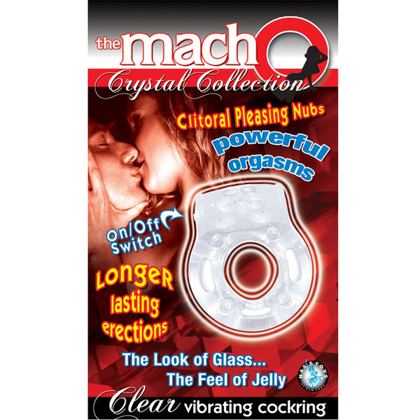 Macho Crystal Coll Cock Ring Vibrating Clear