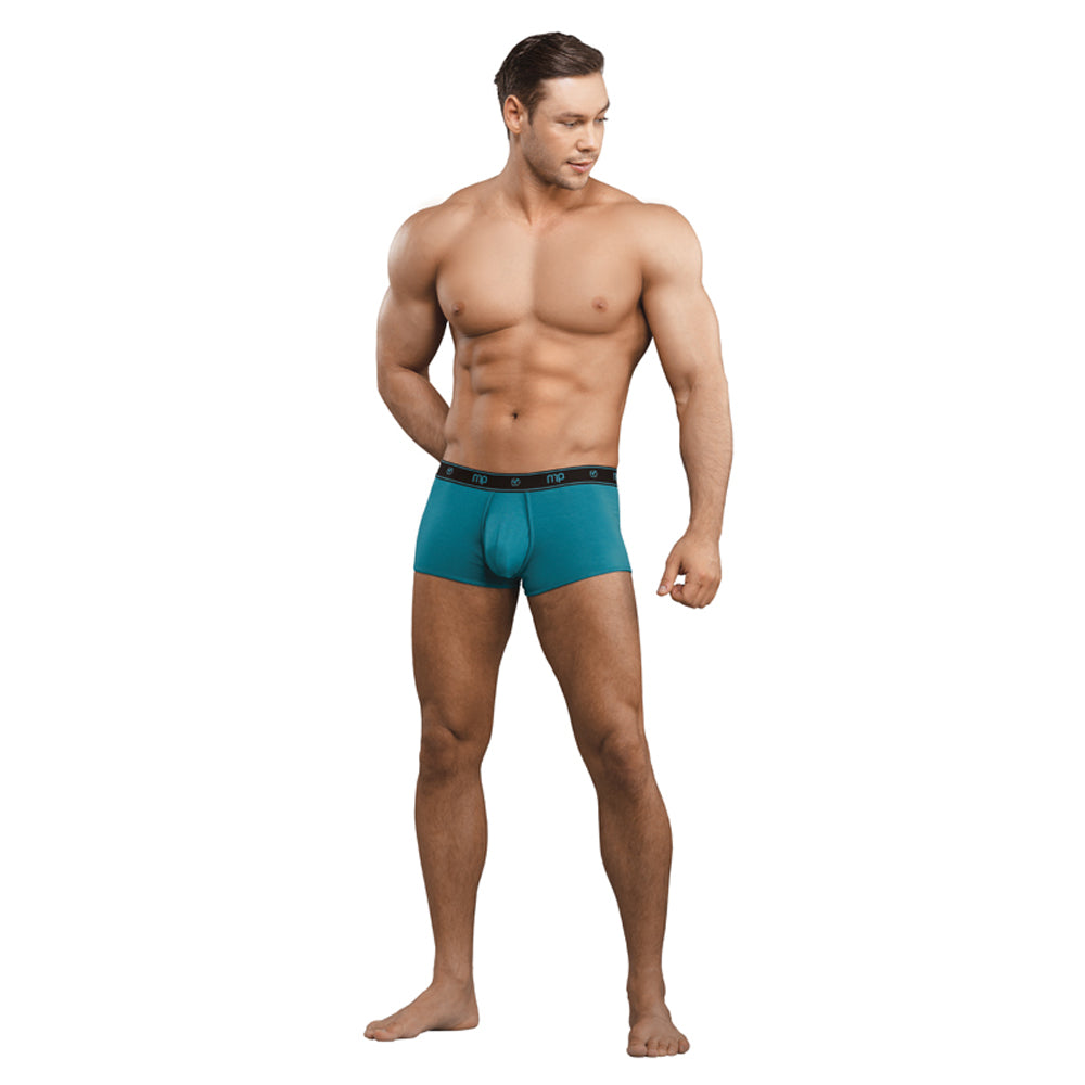 Male Power Bamboo Pouch Enhancer Mini Short Teal Size Small