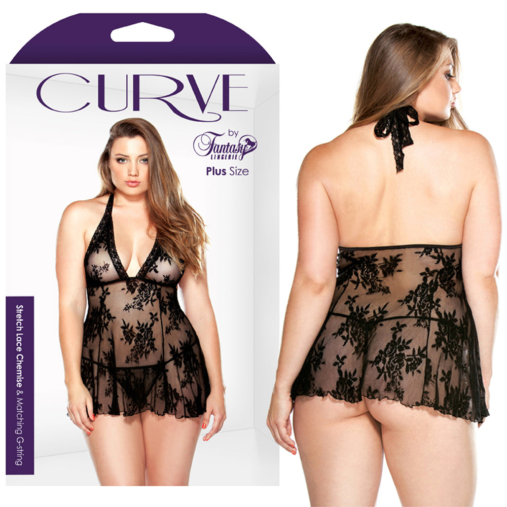 Curve Stretch Lace Chemise & G-string Black 3X/4X