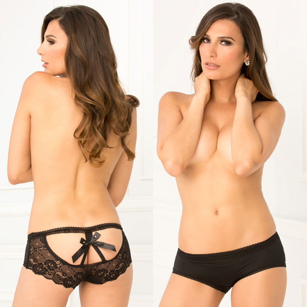 Rene Rofe Crotchless Open Back Lace Panty Black S/M