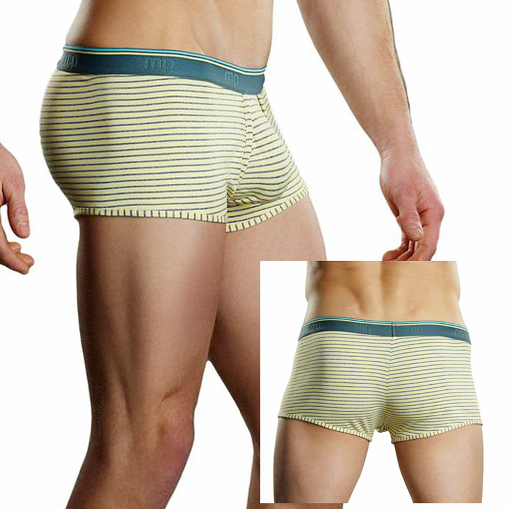 Male Power Heather Stripe Lo Rise Enhancer Short Yellow Large