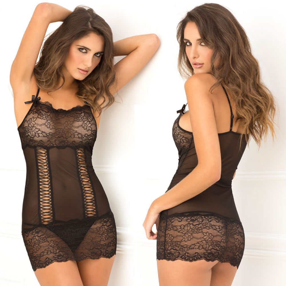 Rene Rofe 2pc Lace Front Chemise & G-String Black S/M
