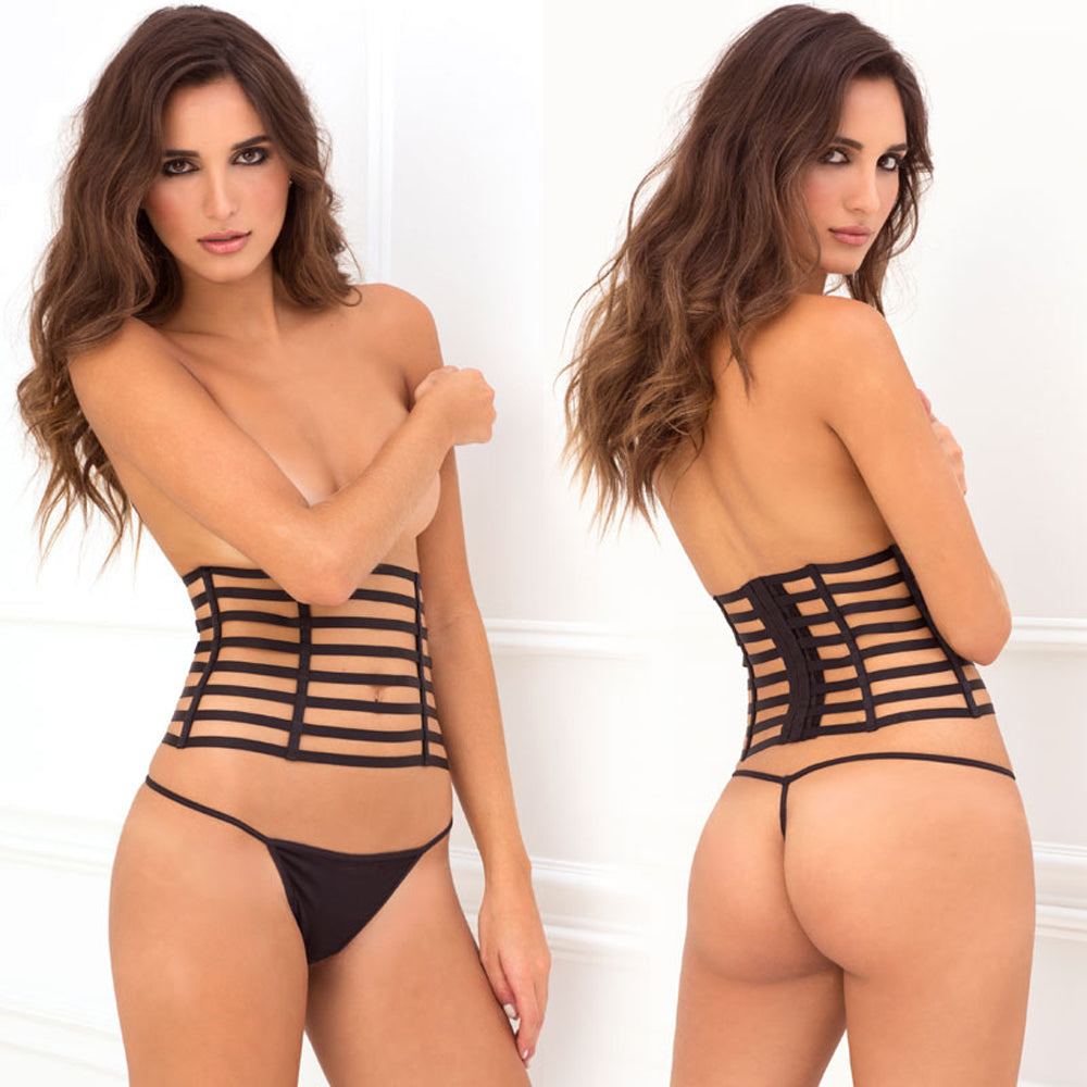 Rene Rofe 2pc Cage Waspie & G-String Set Black M/L