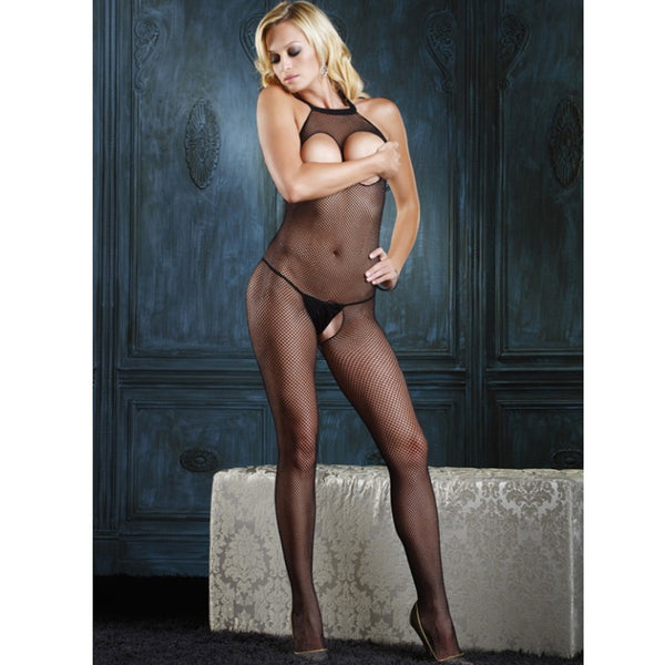 Seamless Bodystocking with Opn Bust O/S Black