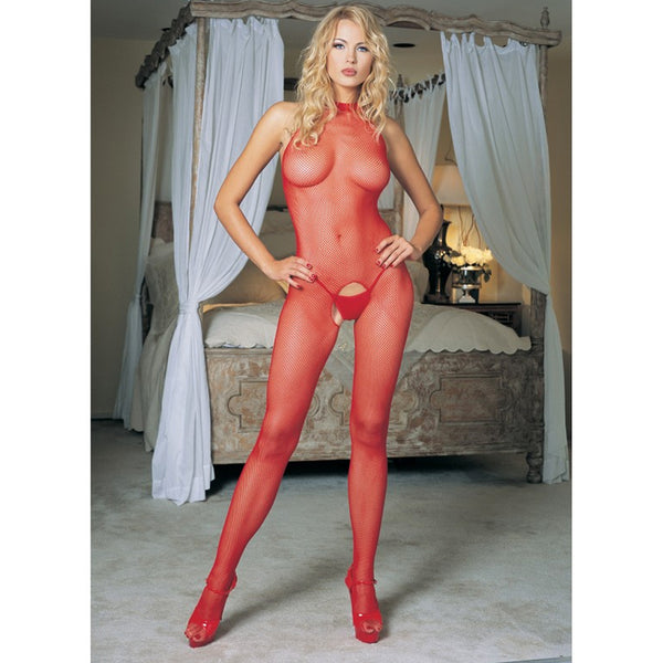 Seamless Fishnet Bodystocking O/S Red