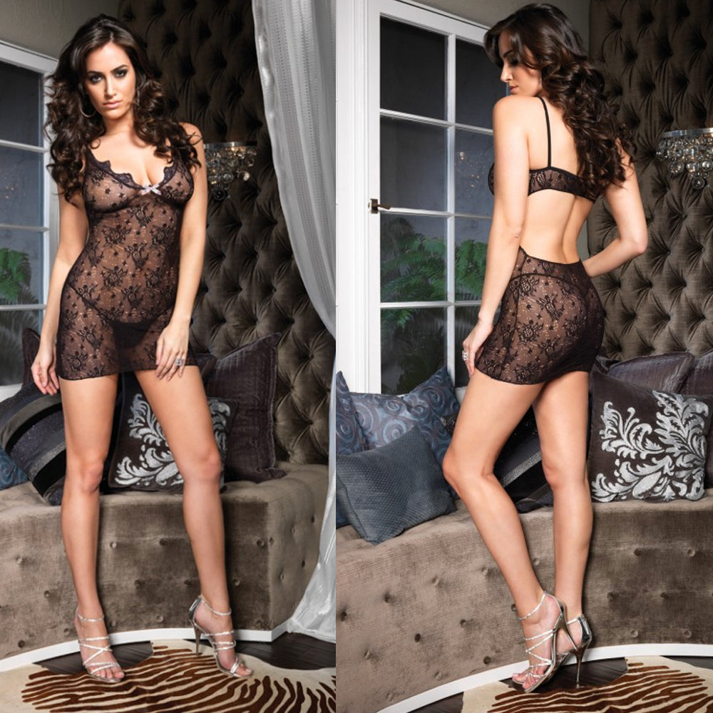 Boudoir Rose Lace Mini with Plk Bow O/S Black