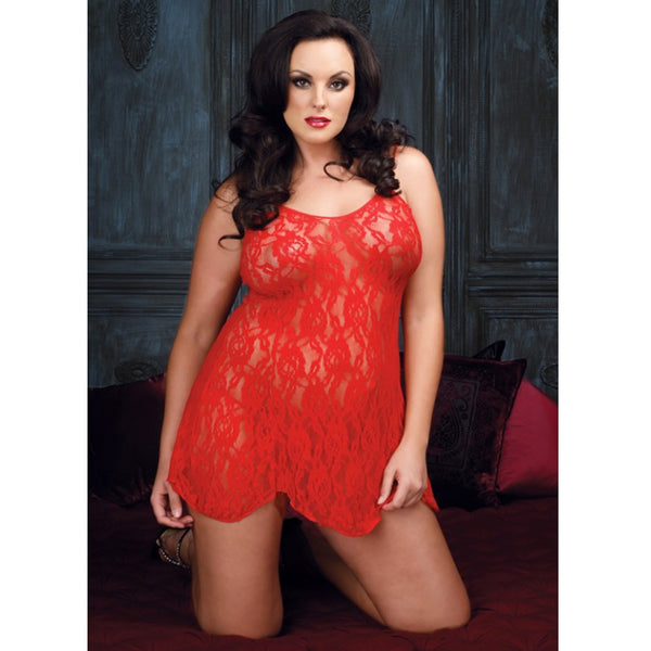 Rose Lace Flair Chemise Plus Size Red