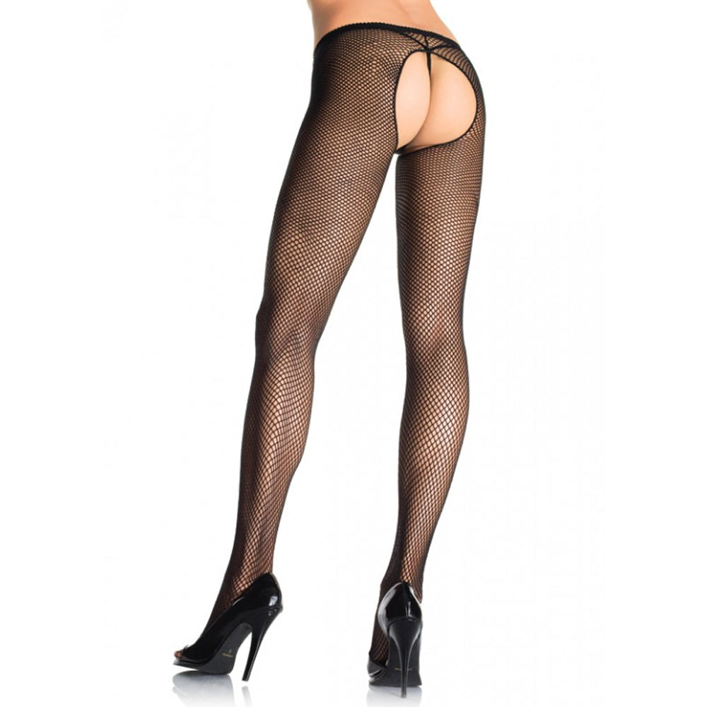 Crotchless Fishnet Panty Hose Plus Black