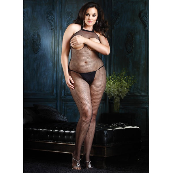 Fishnet Halter Bodystocking Plus Black