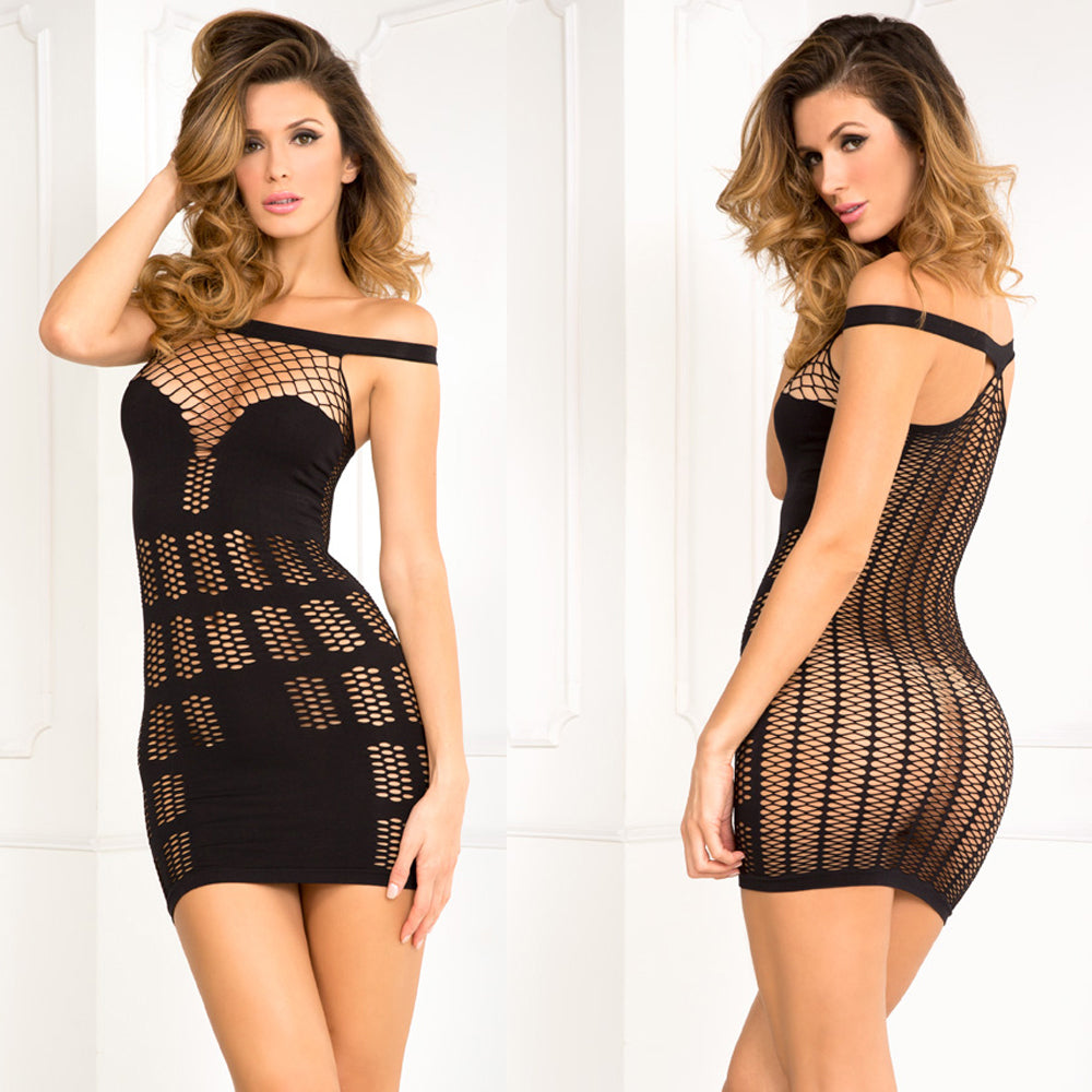 Rene Rofe Big Spender Multi-Net Seamless Dress S/M