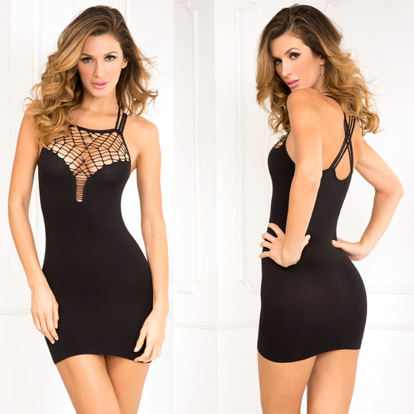 Rene Rofe Exotic Plunge Seamless Dress Black M/L - (PACK OF 2)
