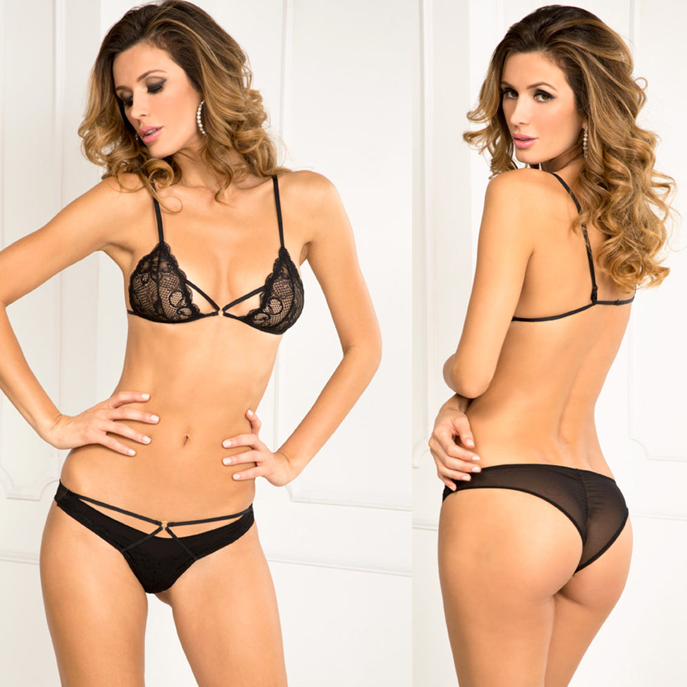 Rene Rofe Provocative Lace Bra & Panty Set Black M/L