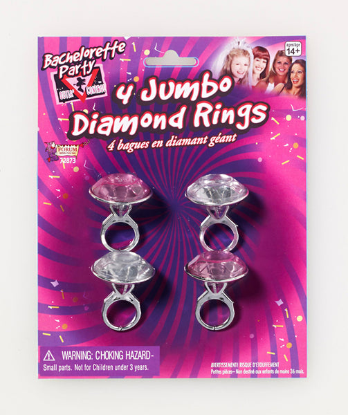 Bachelorette Jumbo Diamond Rings 4pk
