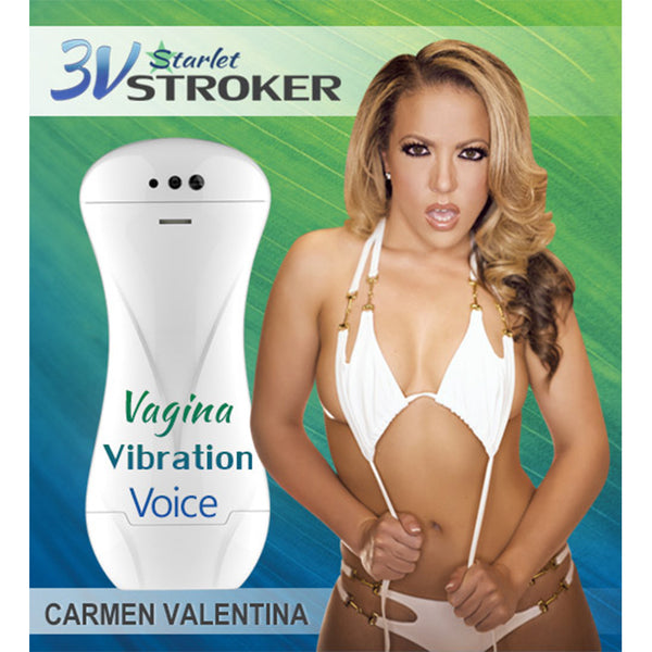 3v Talking and Vibrating Starlet Stroker - Carmen Valentina