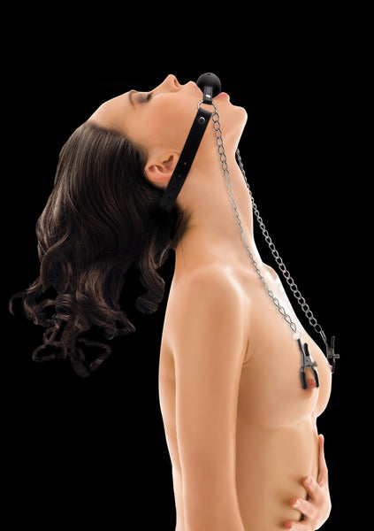 Ball Gag with Nipple Clamps - Black