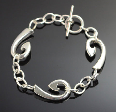 Sterling Silver Fish Hook Bracelet