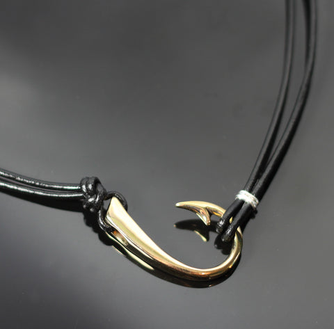 2 in 1 Bronze Lg Hook Necklace w/Black Leather-2-1BRP1017-BL