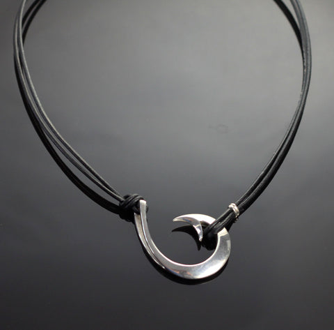 Replacement black leather cord for the 2 in 1 style Lg Circle Hook necklace-FREE