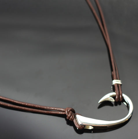 2 in 1 Lg Hook Necklace w/ Brown Leather-2-1P1017-BL